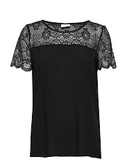 VIMERO LACE S/S TOP/SU -NOOS - BLACK