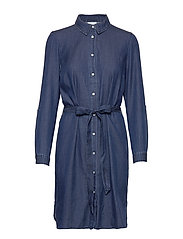 VIBISTA DENIM BELT DRESS/SU - - DARK BLUE DENIM