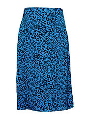 VIWILD LEO PRINT SKIRT - BRILLIANT BLUE