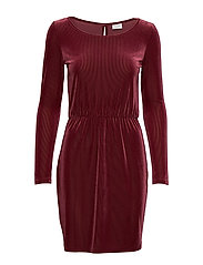 VIBIANA L/S DRESS/KI - TAWNY PORT