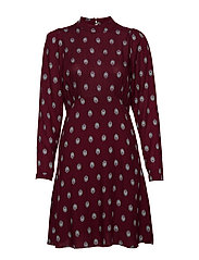 VIRIKOADIGITALIS L/S DRESS - TAWNY PORT