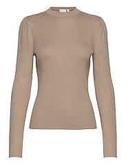 VIPOPSA KNIT CREW  NECK L/S TOP - SIMPLY TAUPE