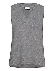 VIRIL KNIT RIB V-NECK S/L VEST - - MEDIUM GREY MELANGE