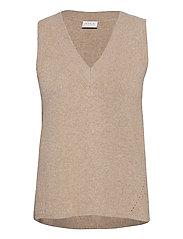 VIRIL KNIT RIB V-NECK S/L VEST - - NATURAL MELANGE