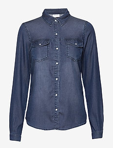 VIBISTA DENIM SHIRT/SU-NOOS - langærmede skjorter - dark blue denim