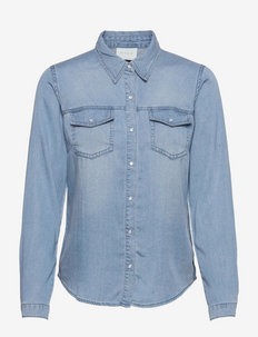VIBISTA DENIM SHIRT/SU-NOOS - long-sleeved shirts - medium blue denim