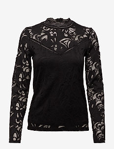 VISTASIA LACE L/S TOP - NOOS - long sleeved blouses - black