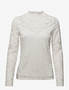 VISTASIA LACE L/S TOP - NOOS - langærmede bluser - cloud dancer