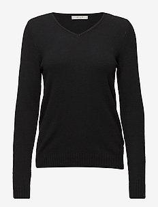 VIRIL V-NECK L/S  KNIT TOP - NOOS - trøjer - black