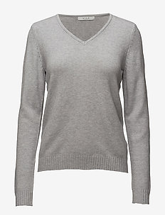 VIRIL V-NECK L/S  KNIT TOP - NOOS - gensere - light grey melange