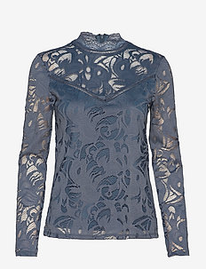VISTASIA L/S LACE TOP-FAV - long-sleeved tops - china blue