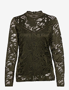 VISTASIA L/S LACE TOP-FAV - long-sleeved tops - forest night