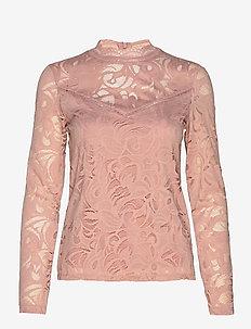 VISTASIA L/S LACE TOP-FAV - long-sleeved tops - pale mauve
