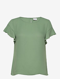 VILUCY S/S FLOUNCE TOP - FAV - t-shirts - loden frost