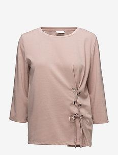 VIDELIA DRAWSTRING 3/4 SLEEVE TOP - long-sleeved tops - adobe rose