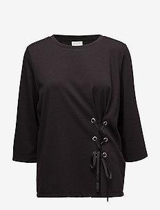 VIDELIA DRAWSTRING 3/4 SLEEVE TOP - long-sleeved tops - black