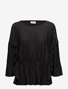 VIRANTIA 3/4 SLEEVE TOP/RX - long sleeved blouses - black