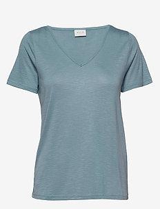 VINOEL S/S V-NECK T-SHIRT-NOOS - ASHLEY BLUE