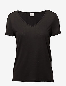 VINOEL S/S V-NECK T-SHIRT-NOOS - basic t-shirts - black