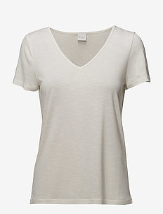 VINOEL S/S V-NECK T-SHIRT-NOOS - basic t-shirts - cloud dancer