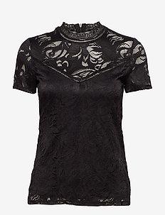 VISTASIA LACE S/S TOP - NOOS - basic t-shirts - black