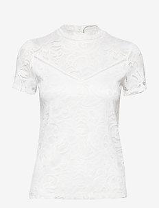 VISTASIA LACE S/S TOP - NOOS - basic t-shirts - cloud dancer