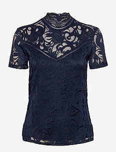 VISTASIA LACE S/S TOP - NOOS - basic t-shirts - navy blazer