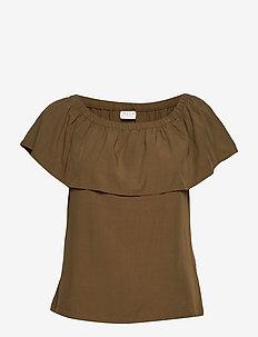 VIAMONA OFF SHOULDER TOP - t-shirts basiques - dark olive