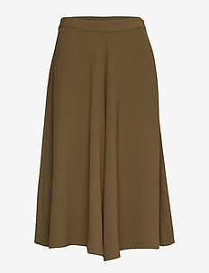 VIEDALINE HW CROPPED PALAZZO PANT - wide leg trousers - dark olive