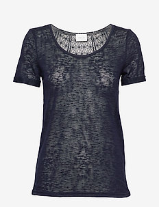 VISUMI S/S NEW BACK LACE TOP- NOOS - t-shirts - total eclipse
