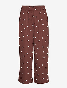 VIFLORES PRETTY CROPPED PANTS - wide leg trousers - puce
