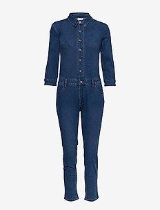 VIBARKAN NEW 3/4 SLEEVE 7/8 JUMPSUIT/1 - MEDIUM BLUE DENIM