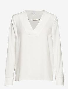 VILAIA L/S V-NECK TOP - NOOS - basic t-shirts - cloud dancer