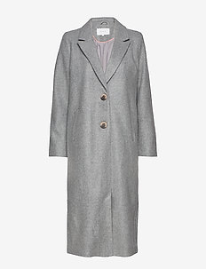 VICAMMIE LONG COAT - LIGHT GREY MELANGE