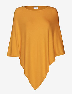 VIBOLONIA KNIT O-NECK PONCHO TB - golden rod