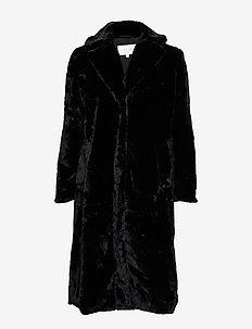 VIKODA FAUX FUR  COAT - BLACK