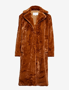 VIKODA FAUX FUR  COAT - TOFFEE