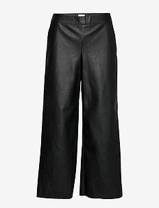 VIPEN RW CROPPED WIDE PANTS - BLACK