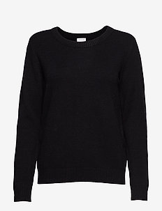 VIRIL O-NECK L/S  KNIT TOP - NOOS - gensere - black