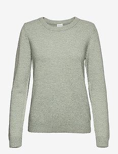 VIRIL O-NECK L/S  KNIT TOP - NOOS - jumpers - green milieu