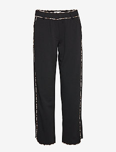 VILOANEANIMALA RWRE 7/8 PANTS/TB - wide leg trousers - black