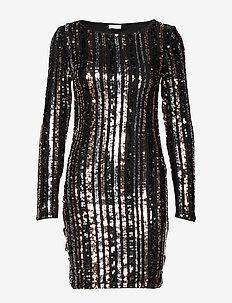VIBEADO L/S STRIPE DRESS/DES - short dresses - black