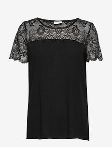 VIMERO LACE S/S TOP/SU -NOOS - t-shirts - black