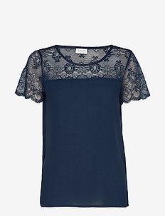 VIMERO LACE S/S TOP/SU -NOOS - t-shirts - navy blazer