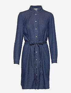 VIBISTA DENIM BELT DRESS/SU - NOOS - shirt dresses - dark blue denim