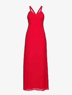 VITULINA PLAIN S/L MAXI DRESS/L - RACING RED