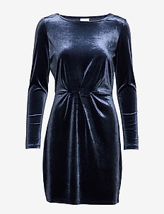 VIMINNY VELVET L/S DETAIL DRESS - FAV NX - TOTAL ECLIPSE