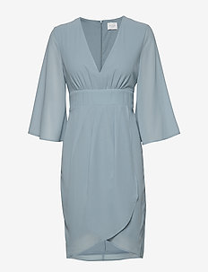 VIMICADA 3/4 SLEEVE DRESS/DC/SU - robes portefeuille - ashley blue