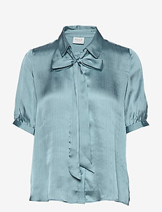 VISUWAVEY S/S BOW SHIRT /SU - ASHLEY BLUE