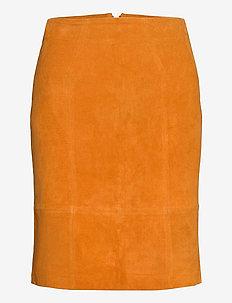 VIFAITH HW SUEDE SLIT SKIRT - ołówkowe spódnice - pumpkin spice
